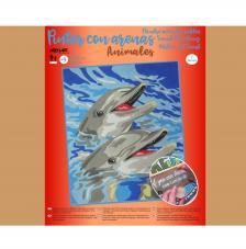 Pintar con arenas Delfines 38X46 cm