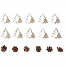 Surtido 16 piezas madera abetos + piñas 2-4 cm