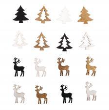 Surtido 16 piezas madera abeto + ciervo 1,5x2,2 cm