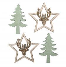 Surtido 12 piezas madera abeto + ciervo estrella Ø 4 cm