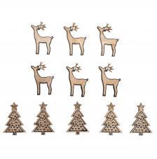 Surtido 10 piezas madera árbol navidad + ciervo 3x4,5 cm