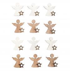 Surtido 12 piezas madera ángel 3,8x4 cm