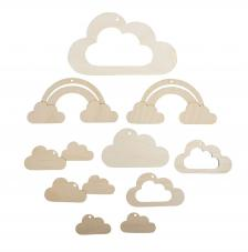 Nubes y Arcoiris madera para móvil
