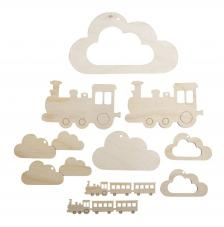 Nubes y tren madera para móvil