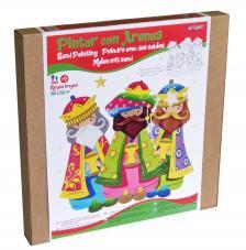 Pintar con arenas. Silueta Navidad Tres Reyes 38x32 para colgar