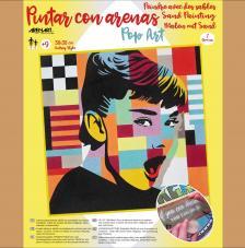 Pintar con arenas Audrey Hepburn Pop Art 38x38 cm