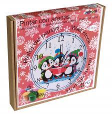 Pintar con arenas. Reloj Pingüinos Ø30 cm