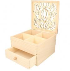 Caja costurero de madera con tapa calada 10x16x16 cm