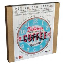 Set Pinta Reloj Pared con arenas. Coffee