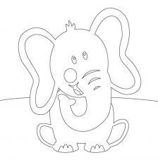 Elefante sentado. 20x20 cm Precortado