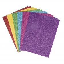 12 hojas papel gliter colorido A5 autoadhesivo