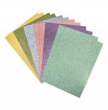 12 hojas papel gliter pastel A5 autoadhesivo