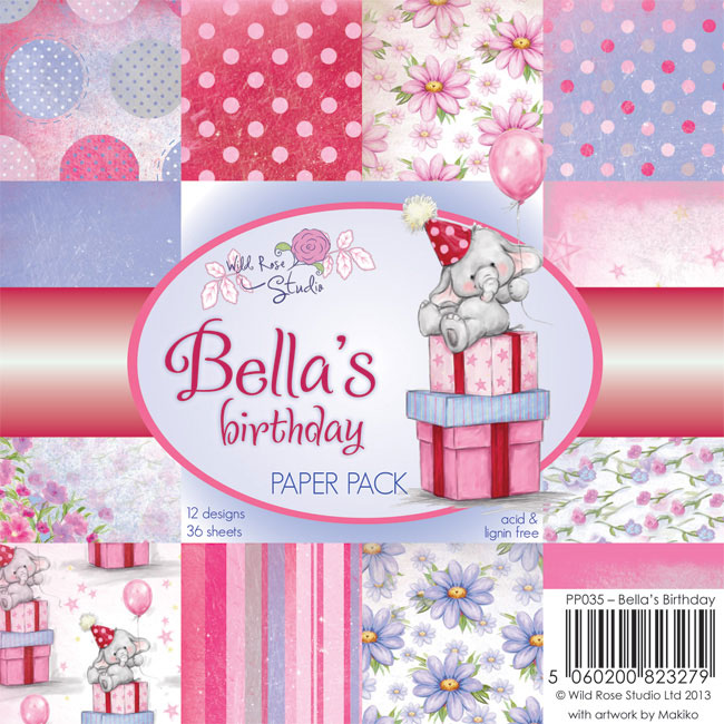 36 papeles 15,5x15,5 cm. Bella's Birthday