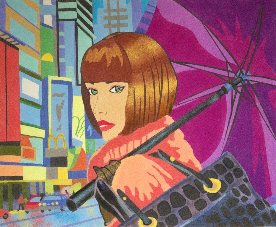 Woman with umbrella.50x61 cm