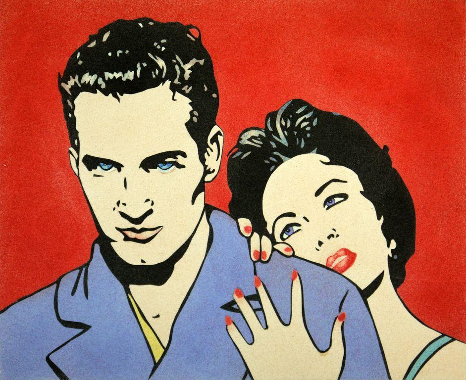 Paul Newman & Liz Taylor. 50x61 cm