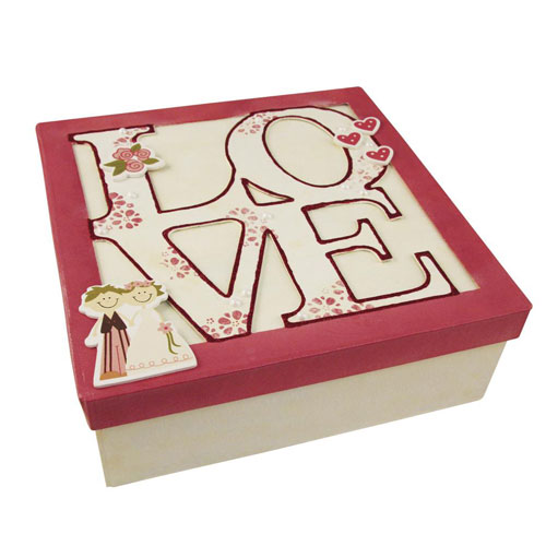 Caja carton Love 20x20x7 cm