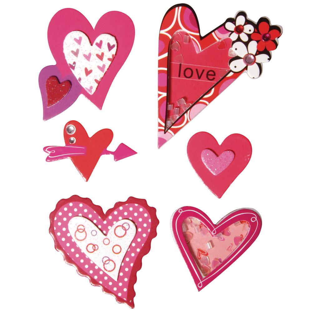 6 Deco stickers  Corazones