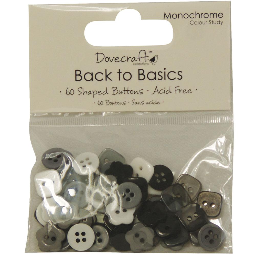 60 botones blanco, negro y gris. Back to Basics