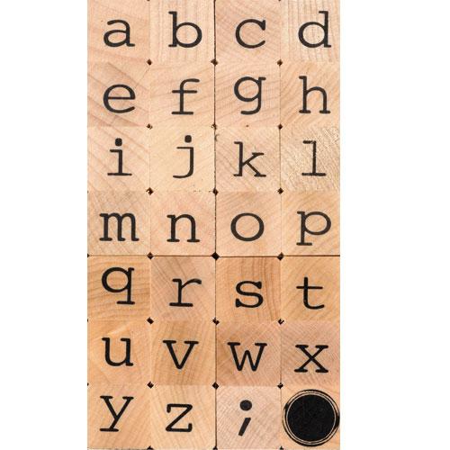 28 sellos madera alfabeto minúscula. 2x2 cm