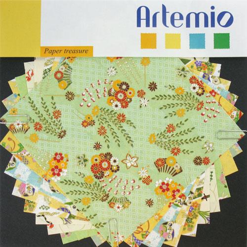 10 hojas papel japones 15x15 cm. Verdes