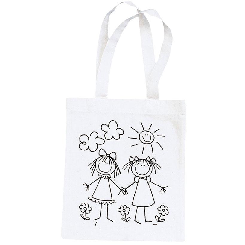 Bolsa de algodón beige amigas 25x21 cm