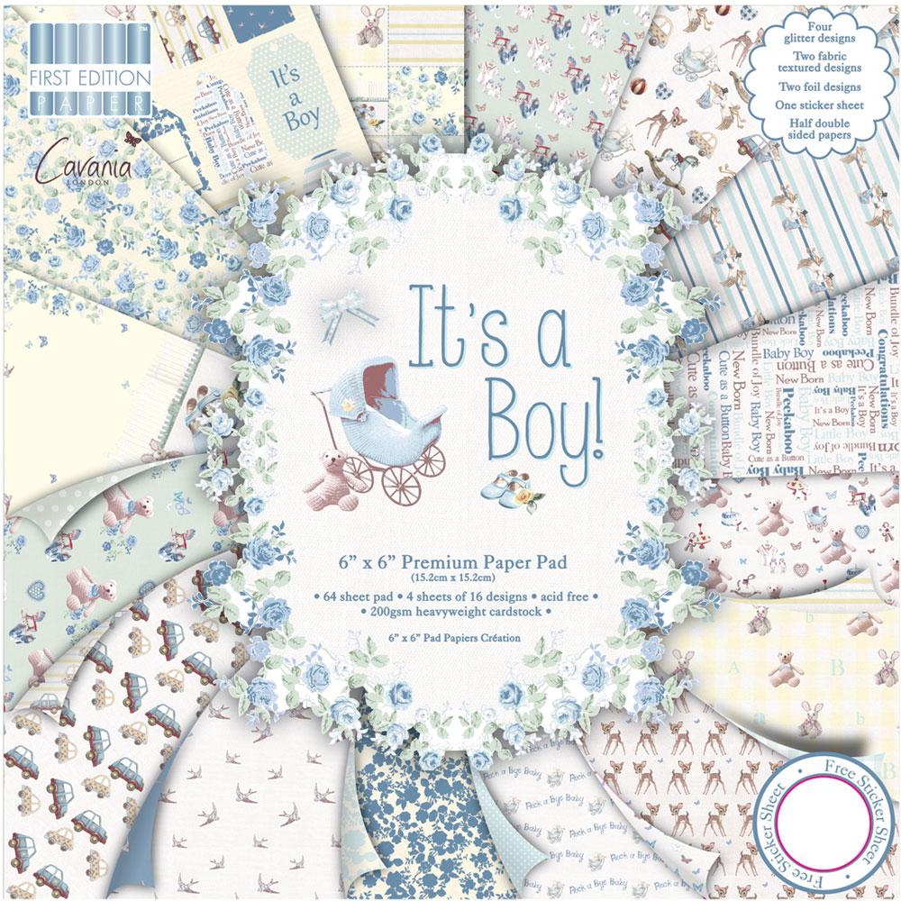 64 papers 15,2 x 15,2 cm. It's a boy