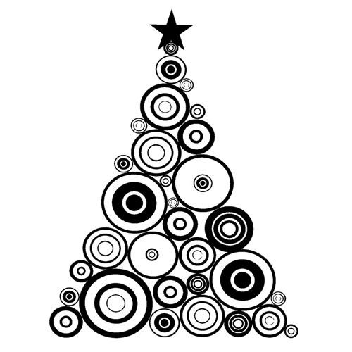 Segell de cautxú A6 Arbre de nadal cercles