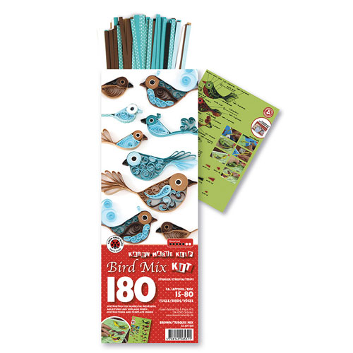 Quilling kit birds brown and turquoise