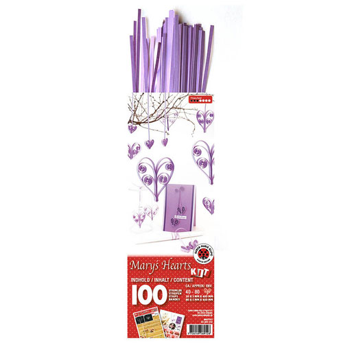 Quilling kit violet hearts