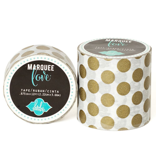 Masking Tape Marquee Love 2,2 cm. Rotllo 3,6 m. Gold Dots