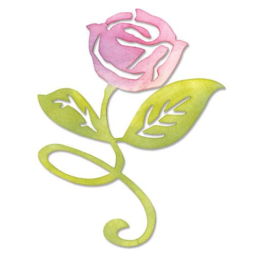 Troquel Sizzlits Sizzix. Rosa con tallo y hojas