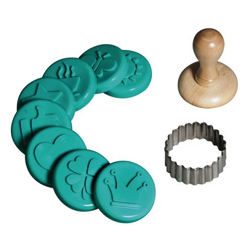 Kit 10 sellos y moldes de silicona para galletas
