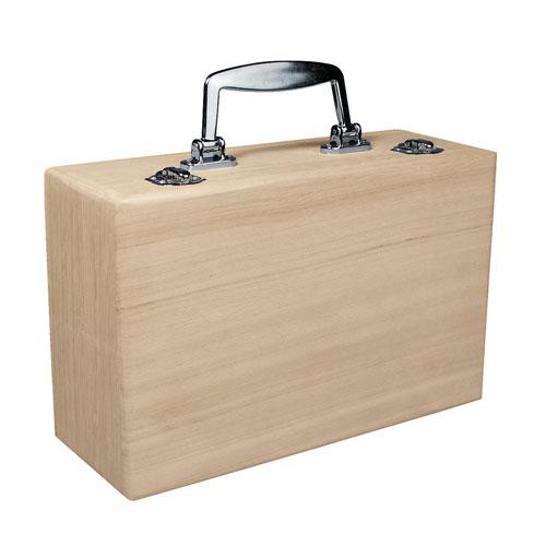 Maletin madera con asa de metal 25x16x9 cm
