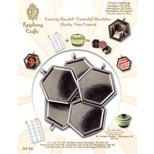 5 colgantes camafeo metálico hexagonal. 2,5 cm. Plata