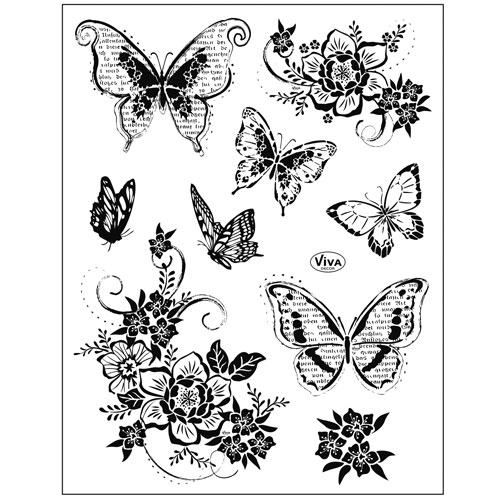 Sello de Silicona 14x18 cm. Modelo 151. Flores y mariposas