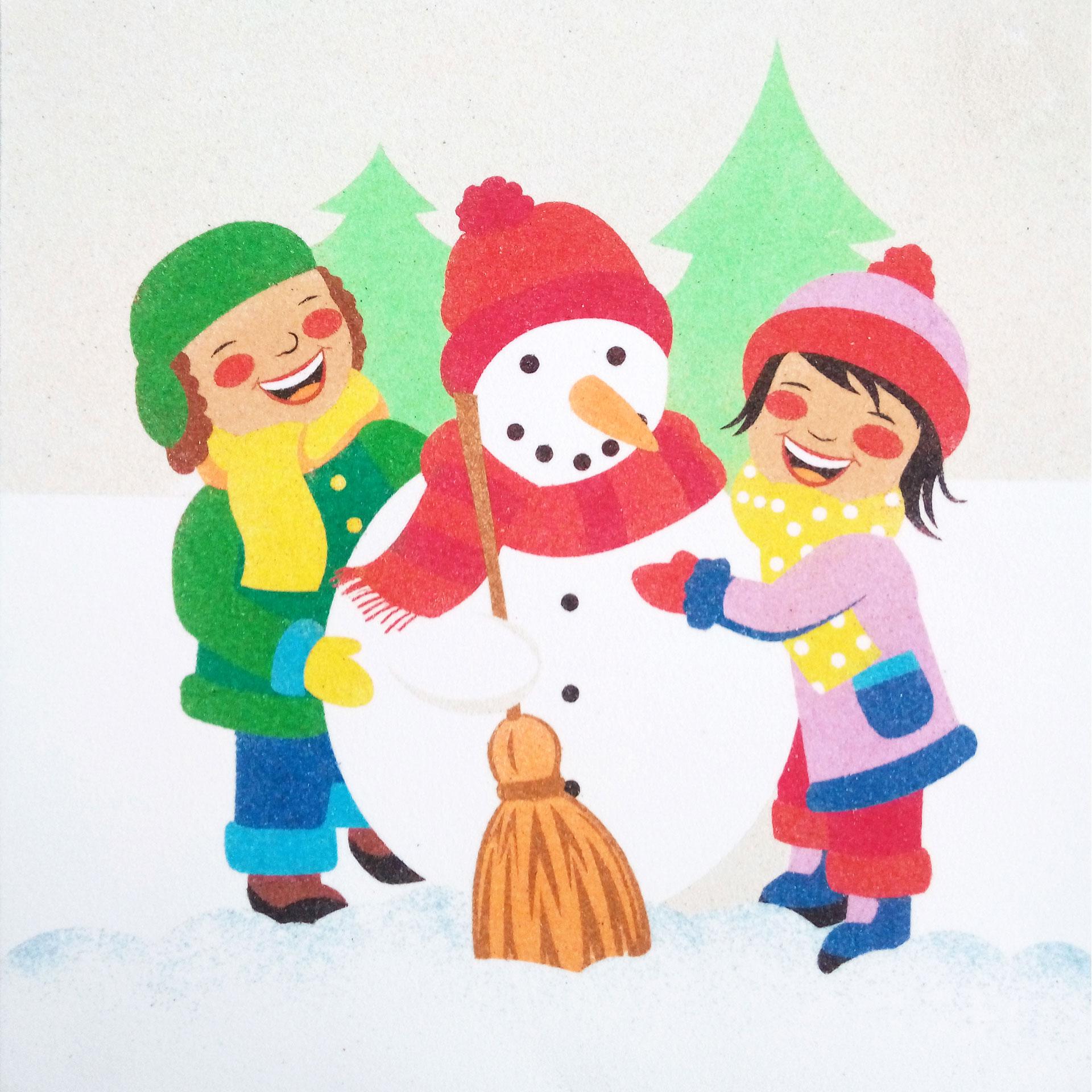Muñeco nieves y niños. 30x30cm