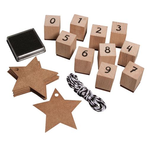 kit sellos madera números, tinta y tags