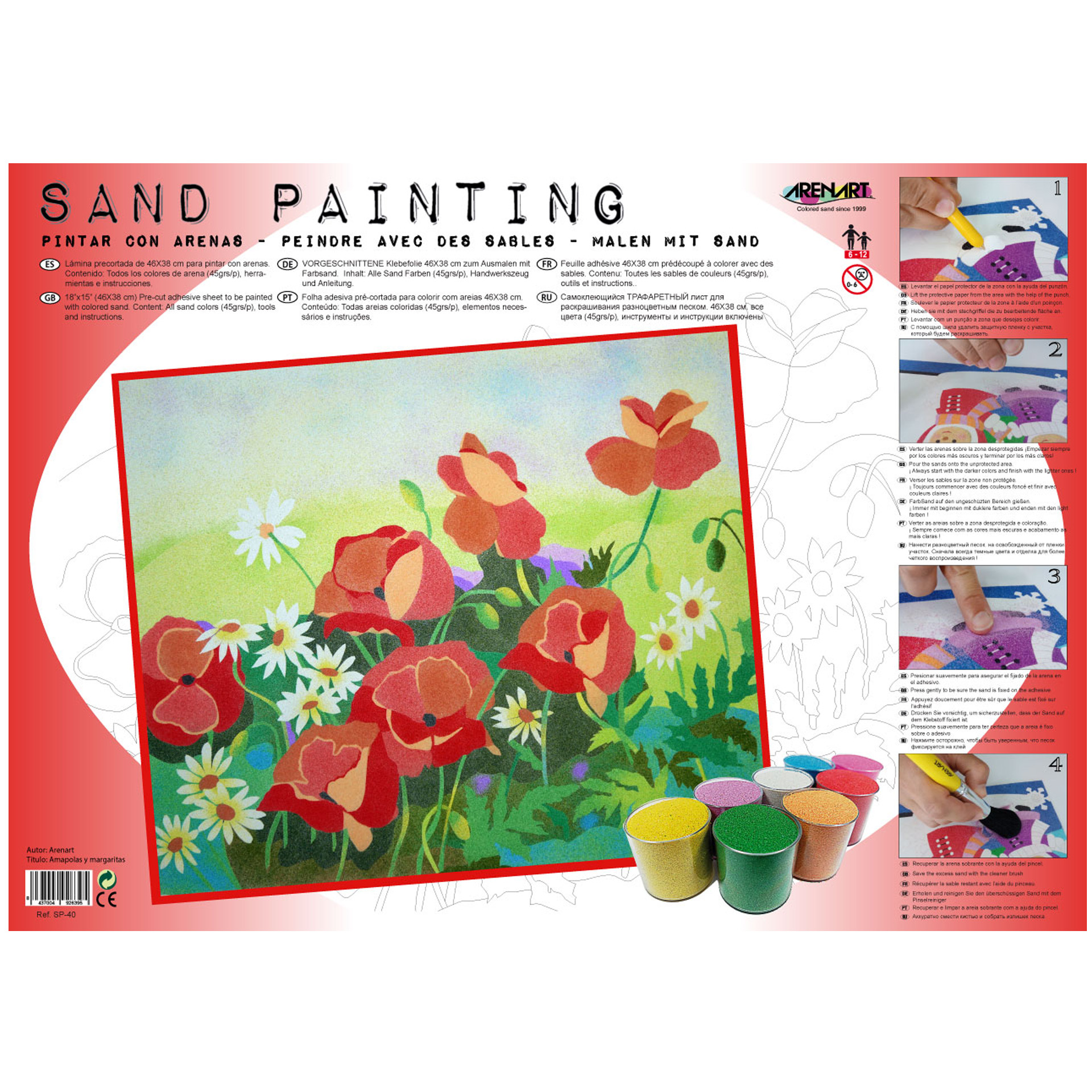 Sand Painting Amapolas y margaritas