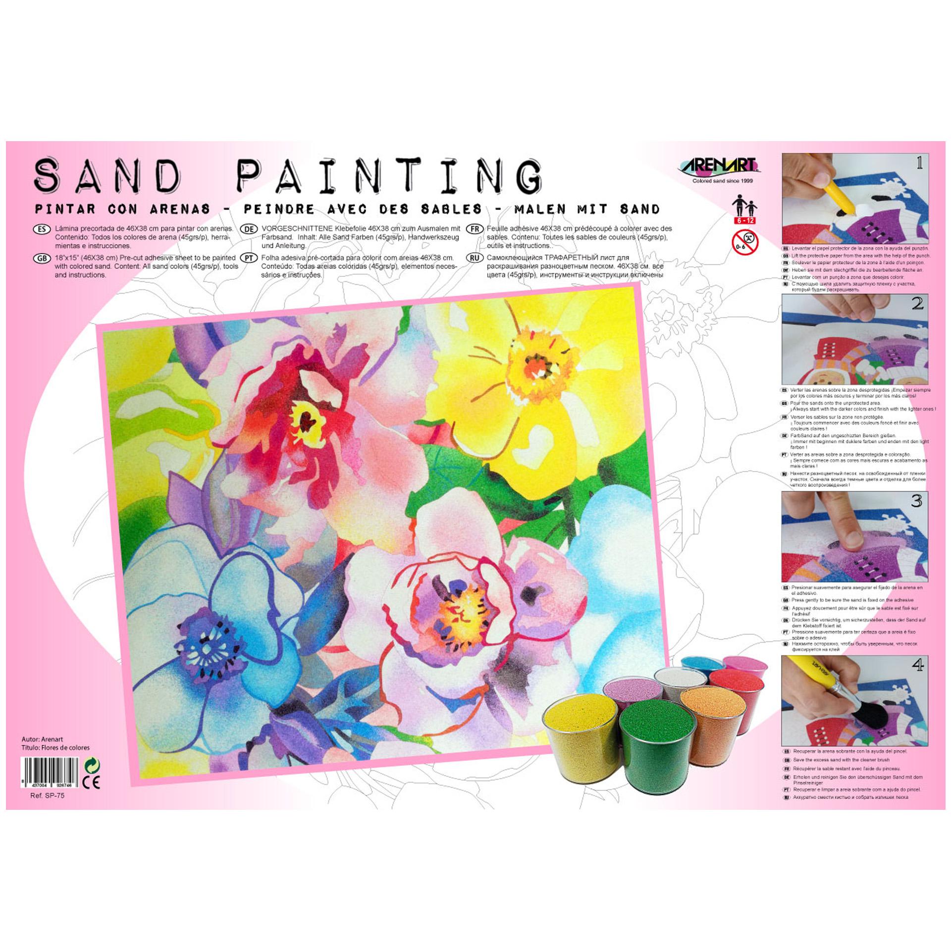 Sand Painting Flores de colores