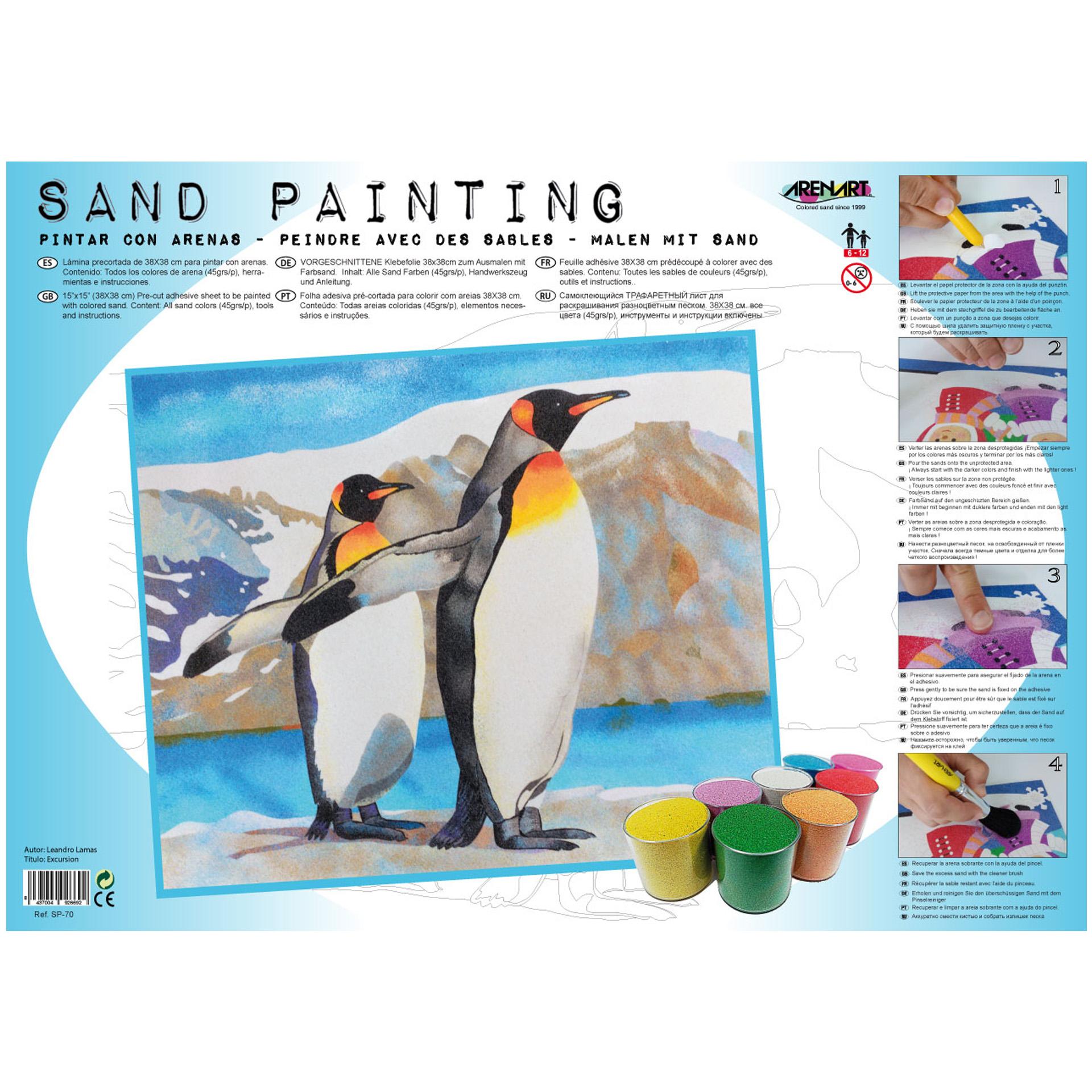 Sand Painting Pingüinos