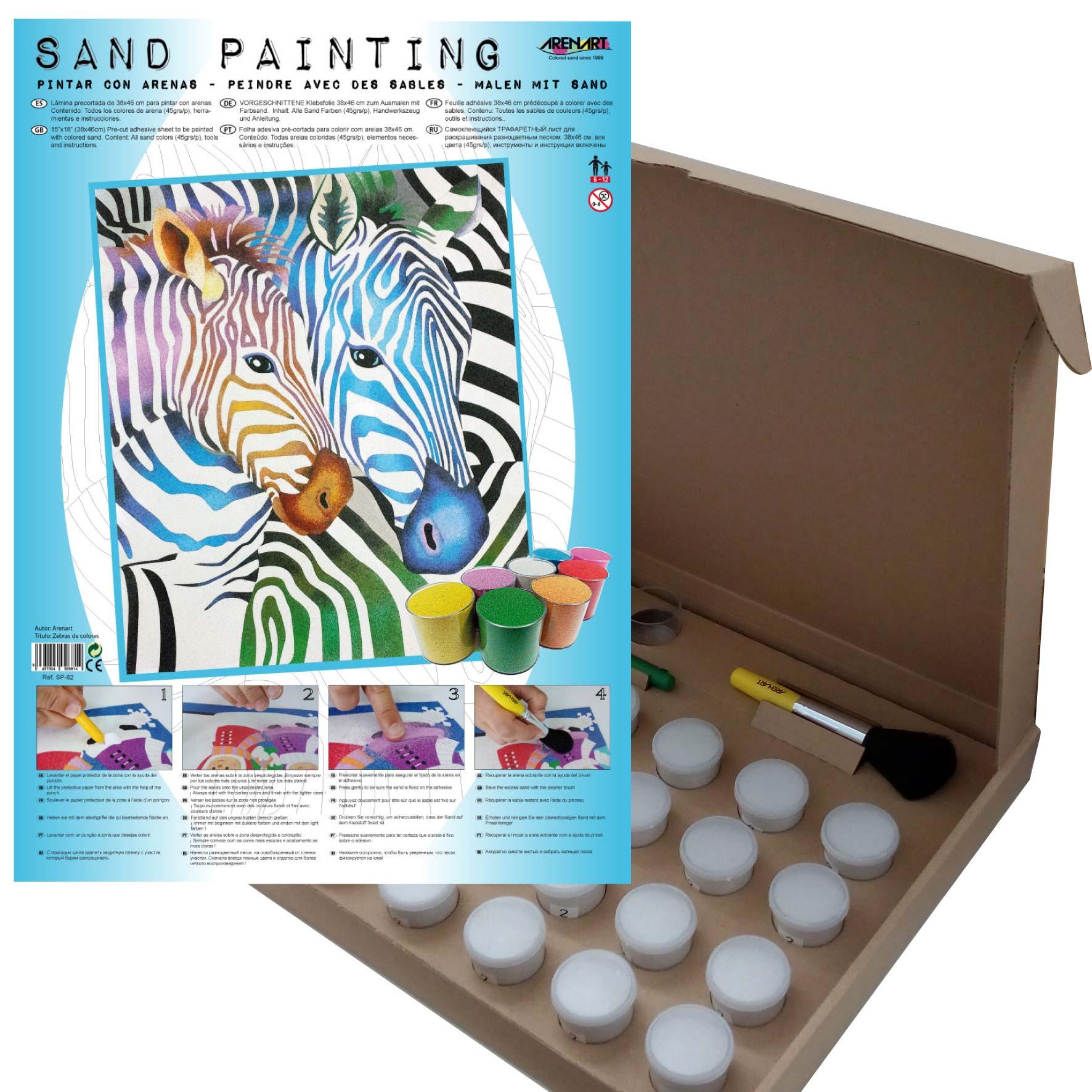 Sand Painting Zebras de colores
