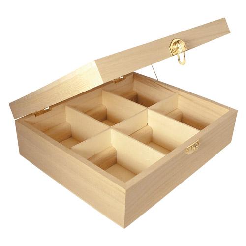 Caja madera 6 compart. 21,5x18x7cm