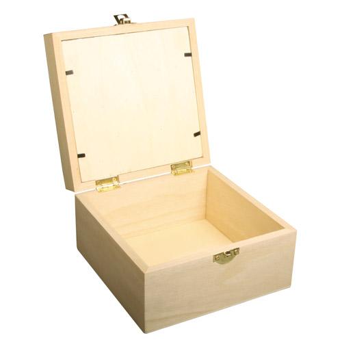 Caja madera tapa cristal 16x16x9,5 cm