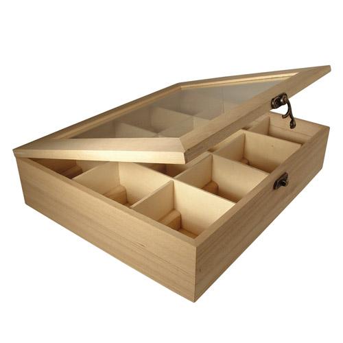 Caja madera 12 compartimentos 28,5x23,5x7 cm