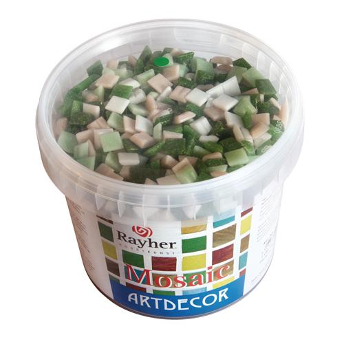 Teselas resina tonos verdes 1x1cm.1300 pzas