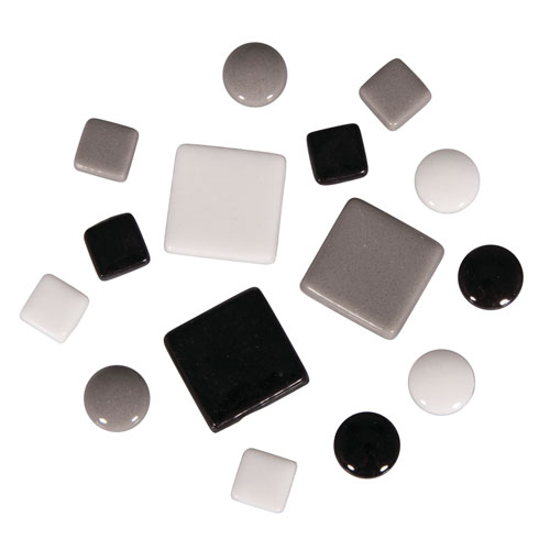 Teselas Fancy Glass Blanco y Negro 1 y 2 cm 395 ut.