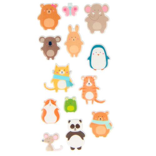 Set figuras adhesivas animalitos 3D. Adorable