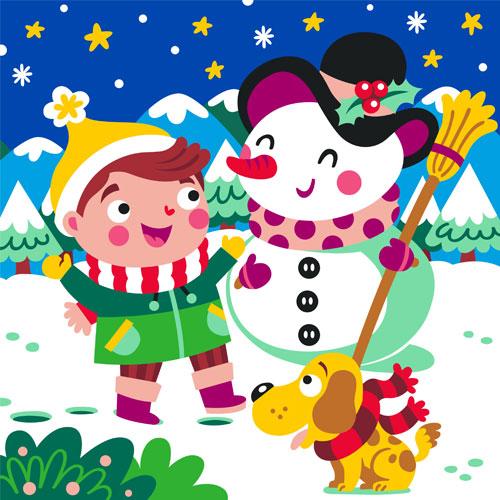 Niño y muñeco de nieve. 3 medidas