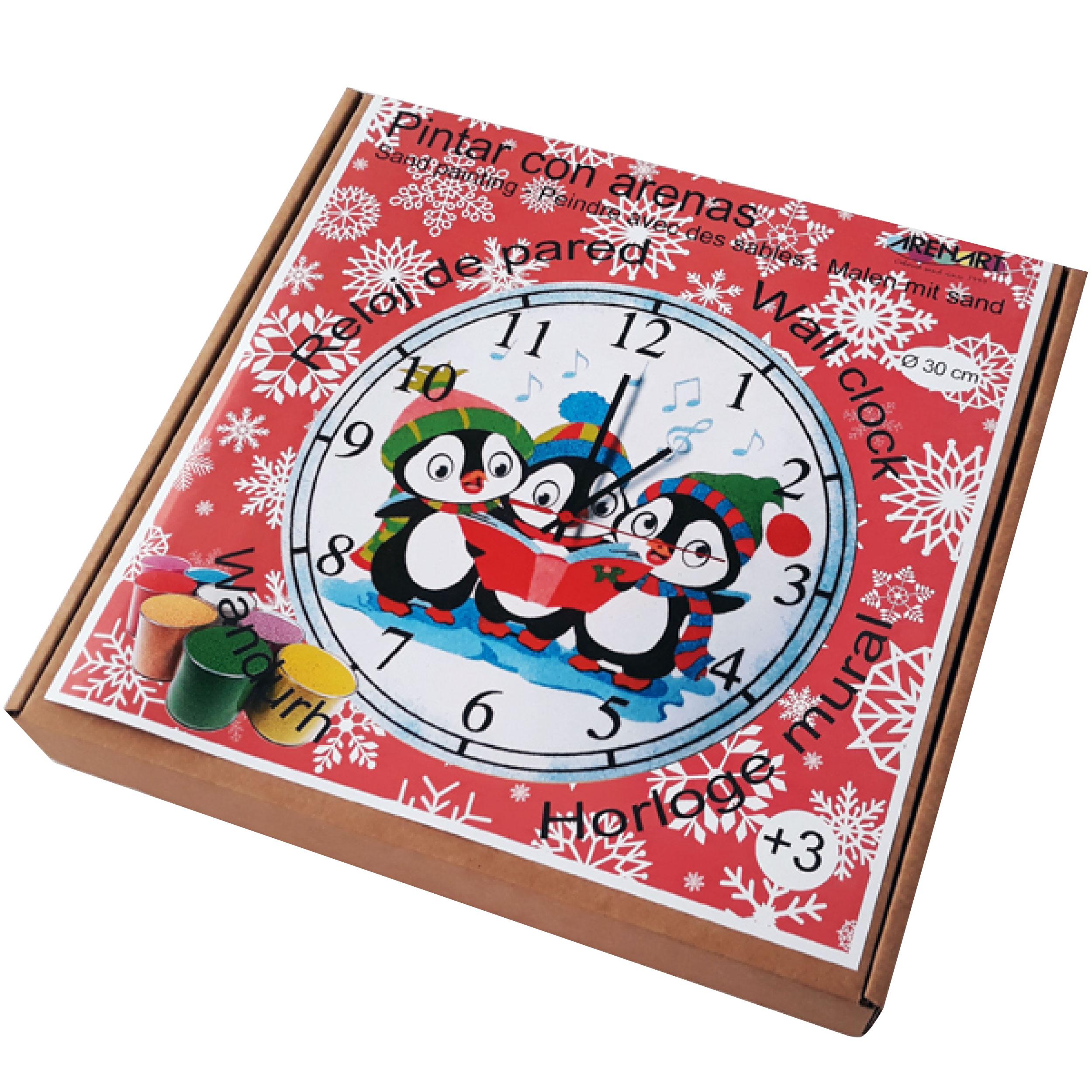 Set Pinta Reloj Pared con arenas. Pingüinos