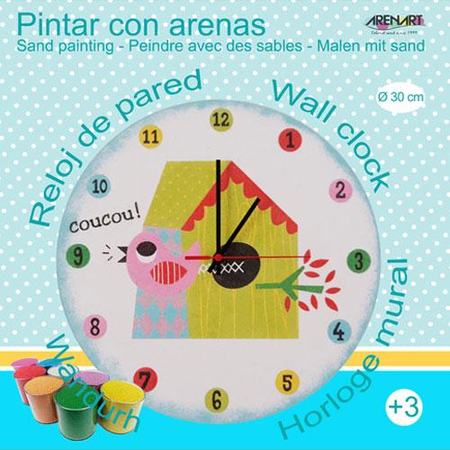 Set Pinta Reloj Pared con arenas. Pajarito